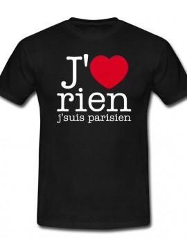 RXL Paris - Tshirt J'aime Rien J'suis Parisien Noir