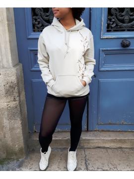 RXL Paris Sakura Sweat A Capuche Beige/Blanc