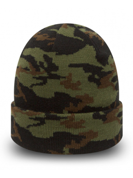 New Era Bonnet À Revers Cuff Woodland Camo