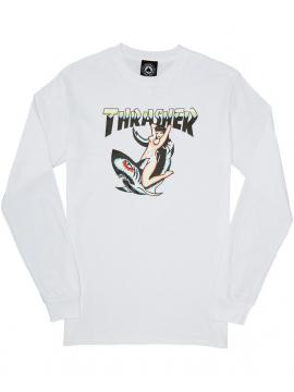 Thrasher T-Shirt Manches Longues Tattoo Blanc