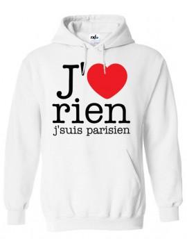 RXL Paris - Sweat Capuche J'aime Rien J'suis Parisien Blanc