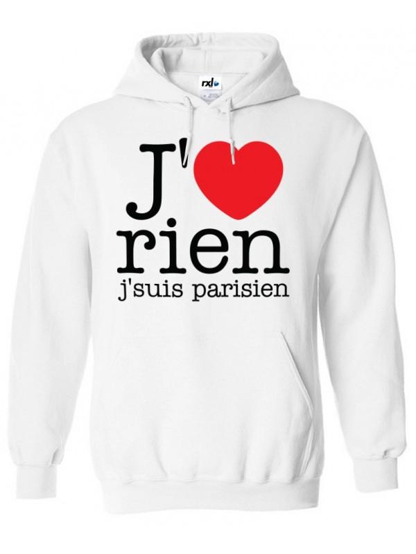 RXL Paris Sweat Capuche J'aime Rien J'suis Parisien Noir
