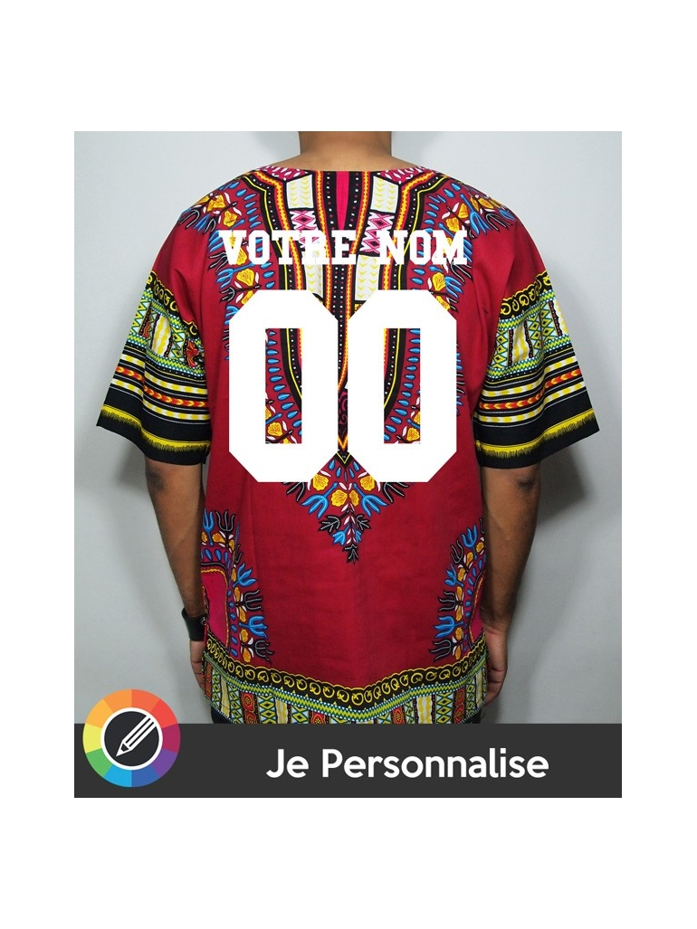 I Customize Men Dashiki RXL Paris Wax in Wine - Back Number