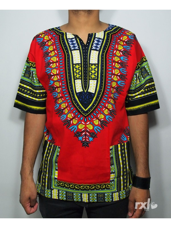 I Customize Men Dashiki RXL Paris Wax in Red - Back Number