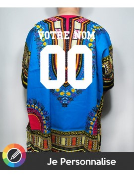 I Customize Men Dashiki RXL Paris Wax in Blue - Back Number