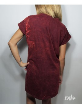 RXL Paris - Tshirt Long Oversize Femme Bordeaux Javel