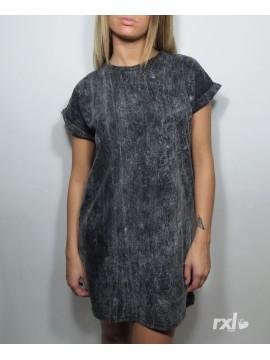 RXL Paris - Tshirt Long Oversize Femme Noir Javel