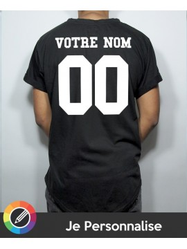 I Customize T-shirt Round Oversize in Black - Name Number