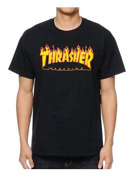 Thrasher Tshirt Flame Logo Noir