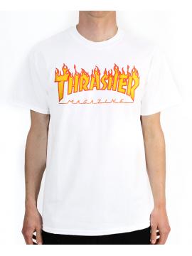 Thrasher Tshirt Flame Logo Blanc