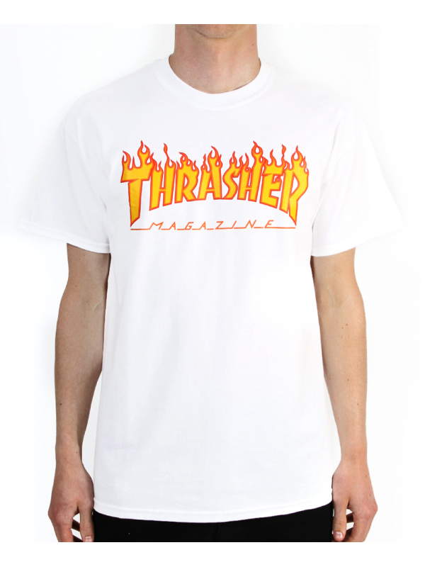 Thrasher - Flame Logo Tee in White