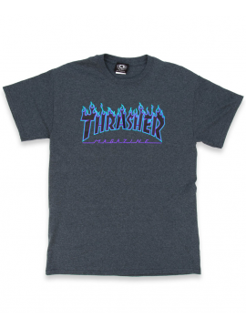 Thrasher - Flame Logo Tee in Dark Heather