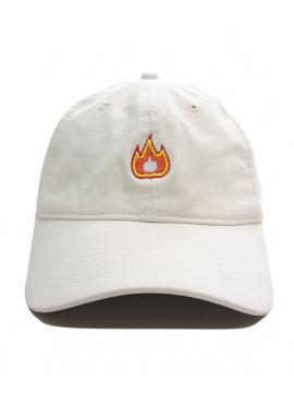 Fire Emoji Dad Hat in White