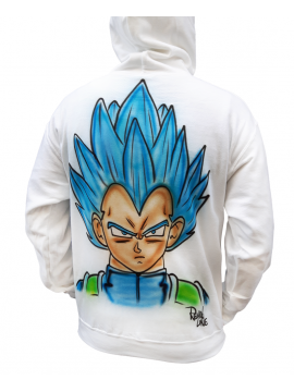 RXL Paris - Vegeta Airbrush Custom Sweat A Capuche Blanc