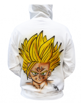 RXL Paris - Sangohan Airbrush Custom Sweat A Capuche Blanc