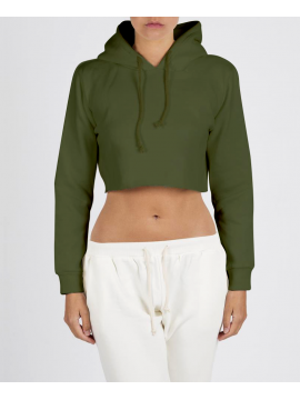RXL - Crop Top Hooded Green Military