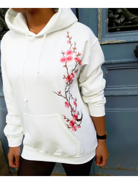 RXL Paris Sakura Sweat A Capuche Blanc/Rose