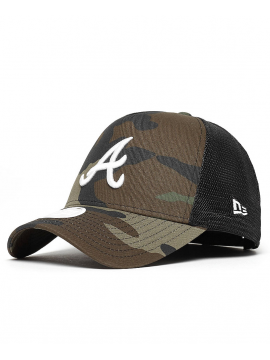 New Era Trucker MLB Atlanta Braves Woodland Camouflage/Blanc