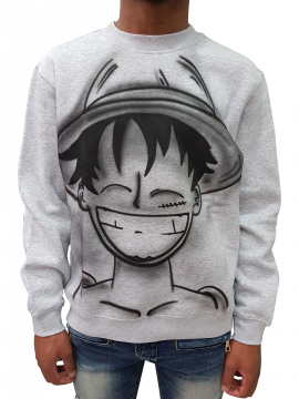 RXL Paris Sweat Crewneck Luffy One Piece Airbrush Custom Gris