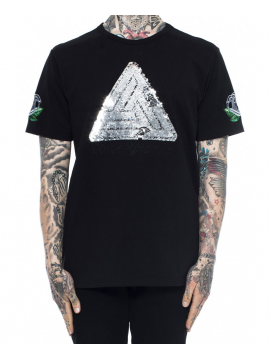 Black Pyramid Sequin Logo T-Shirt Noir