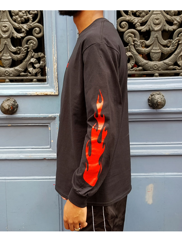 RXL Paris Rose Of The Flames Tshirt Manches Longues Noir