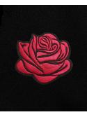 RXL Paris Rose Rouge Brodé Sweat À Capuche Noir