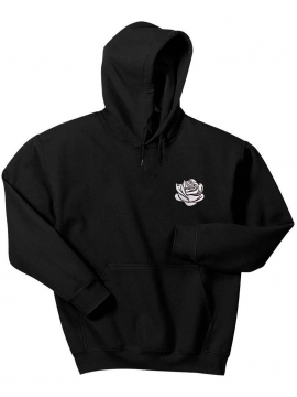 RXL Paris Rose Blanche Brodé Sweat À Capuche Noir