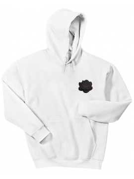 RXL Paris Rose Noir Brodé Sweat À Capuche Blanc