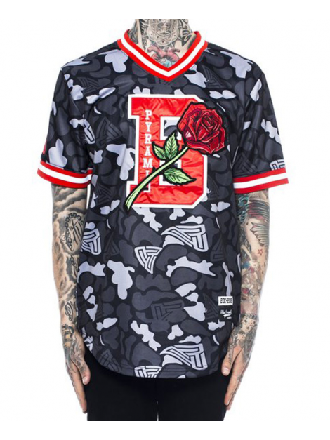 Black Pyramid B Rose Jersey Baseball Noir