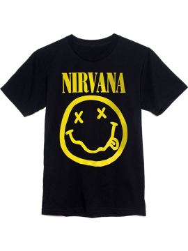 Nirvana T-Shirt Smiley Face Noir
