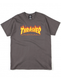Thrasher T-Shirt Flame Logo Charcoal Gris