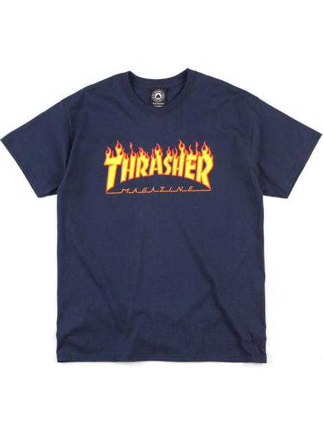 Thrasher T-Shirt Flame Logo Bleu Marine