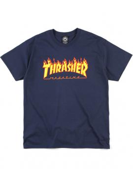 Thrasher Flame Logo Tee Navy