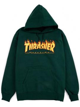 Thrasher Sweat A Capuche Flame Logo Forêt Verte
