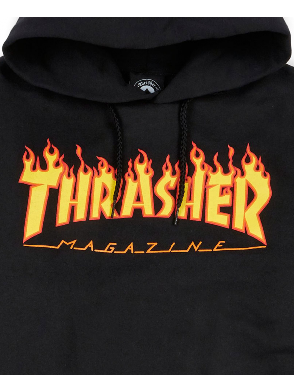 Thrasher - Sweat Capuche Flame Logo Noir