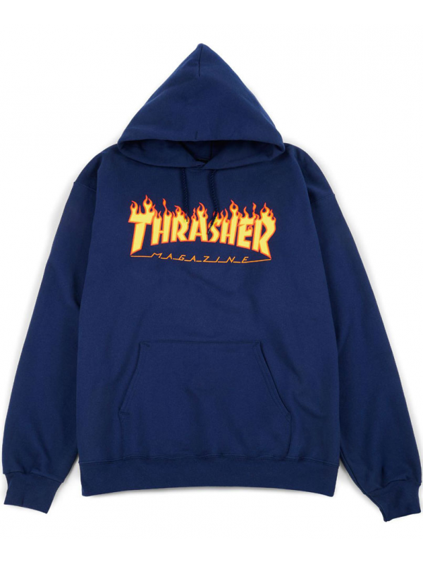 Thrasher - Sweat Capuche Flame Logo Bleu