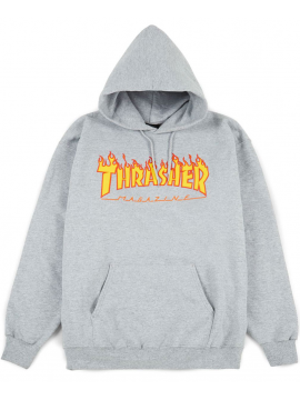 Thrasher - Flame Logo Hoodie in Gray