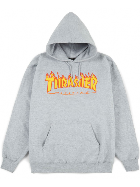Thrasher - Sweat Capuche Flame Logo Gris