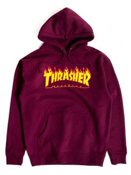 Thrasher Flame Logo Hoodie Wine