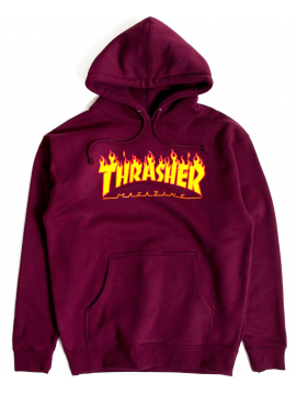 Thrasher Sweat A Capuche Flame Logo Bordeaux