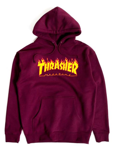 Thrasher Sweat A Capuche Flame Logo Bordeaux