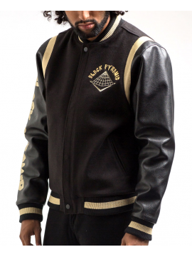 Black Pyramid Drip Logo Varsity Jacket Black