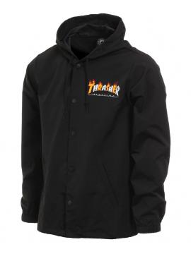 Thrasher Flame Mag Hooded Coach Jacket Black