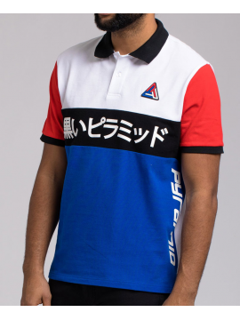 Black Pyramid Geometric Polo SS Bleu Royale