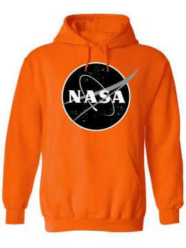 NASA Logo Printed Black Logo Hoodie Orange