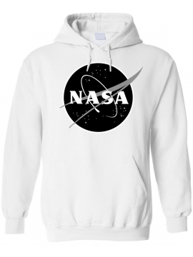 NASA Logo Imprimé Black Logo Sweat Capuche Blanc