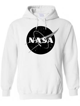 NASA Logo Printed Black Logo Hoodie White