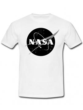NASA Logo Imprimé Black Logo T-Shirt Blanc