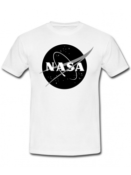 NASA Logo Printed Black Logo Tee White
