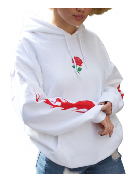 RXL Paris Rose Of The Flames Sweat A Capuche Blanc